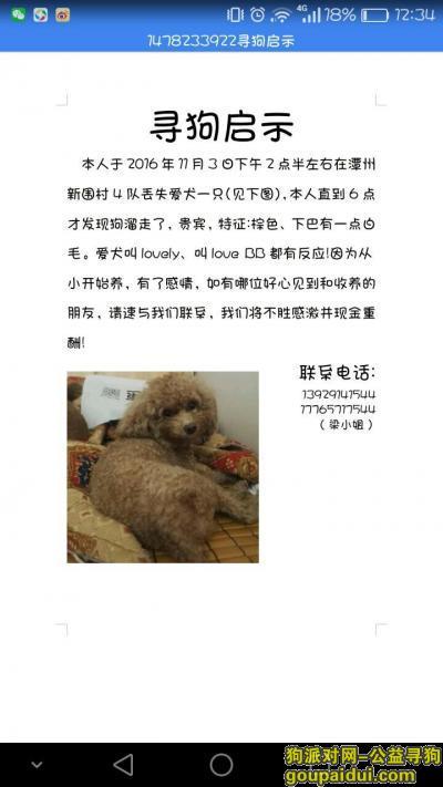 【顺德找狗】,寻狗,在广东省佛山市顺德区番禺大岗潭村新围村4队,它是一只非常可爱的宠物狗狗,希望它早日回家,不要变成流浪狗。